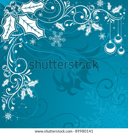 Christmas Frame with snowflakes and holly berry, element for design, raster version