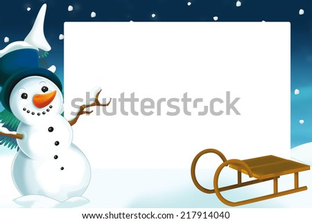 Christmas frame with snowman - illustration for the children - stock photo