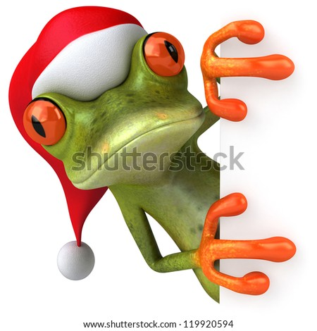 Christmas frog - stock photo
