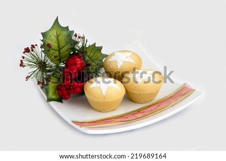 Christmas Fruit Mince Pies on Plate - Isolated - stock photo