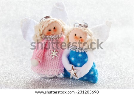Christmas fun decorative toys on a snowy background .Christmas card.  - stock photo