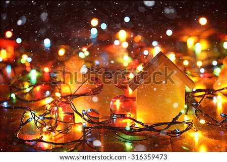 Christmas garland background Christmas Cabin