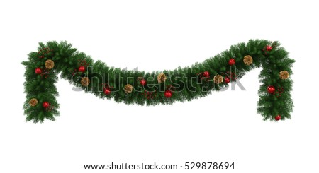 Christmas Garland Decoration. 3D rendering