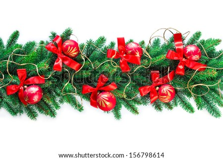 christmas garland on white background - stock photo