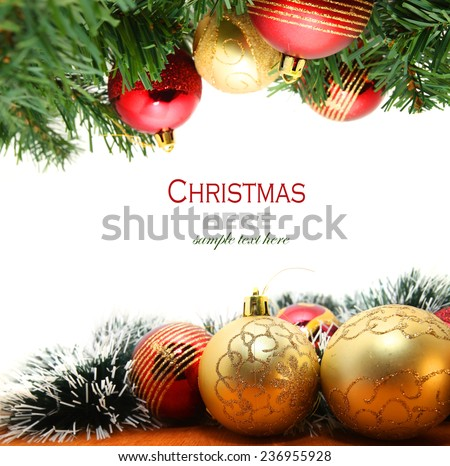 Christmas Garland with gold and red Christmas bubbles isolated on white - stock photo