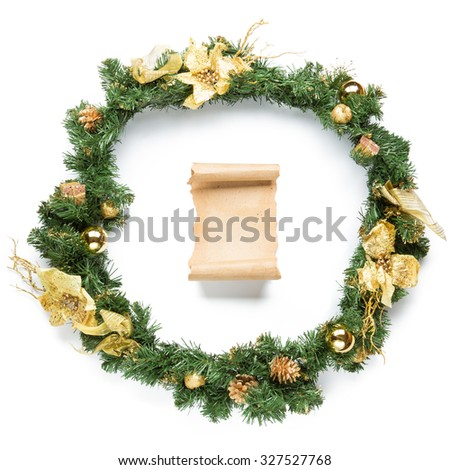 Christmas garland with parchment Isolated over white background. - stock photo