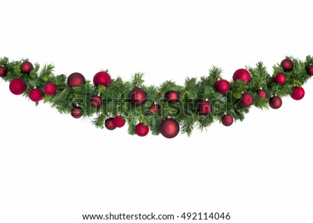 christmas garland with red baubles isolated on white - Christmas Garland