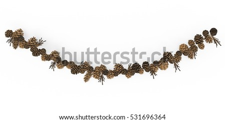 Christmas garlands Twig Decoration isolated on white background. 3D Rendering, Illustration.