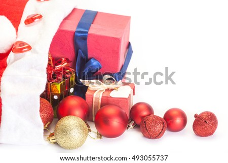 Christmas gift and decoration isolated on white background