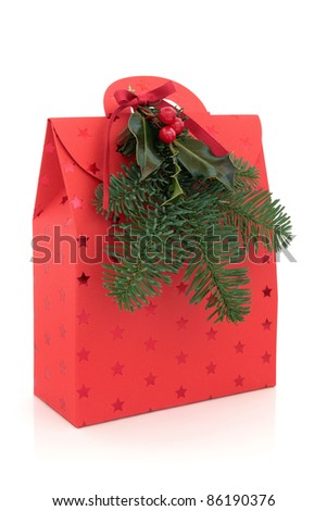 Christmas gift bag in red with star design and pine fir tree leaf sprig with holly and red berry decorative spray  isolated over white background.