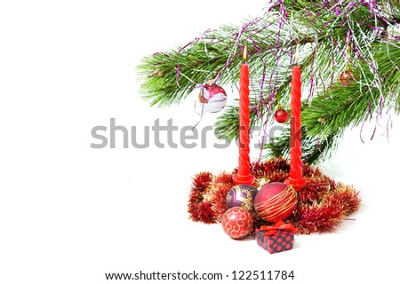 Christmas gift, baubles, candles and trees on white background. Nativity Scene Christmas Ornament. Happy new year! isolated on white. - stock photo