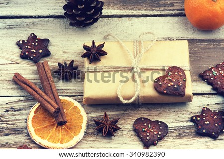 Christmas gift box, cookies and fruits - stock photo
