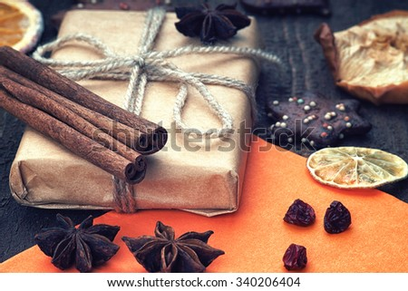 Christmas gift box, greeting card and dried fruits