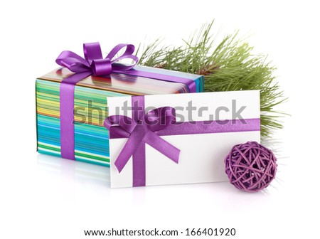 Christmas gift box, letter, fir tree and decor. Isolated on white background - stock photo
