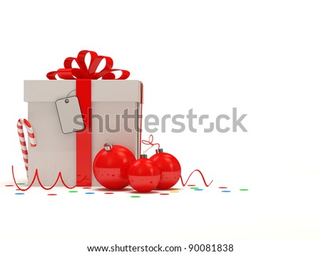 Christmas Gift Box on white background with place for your text - stock photo