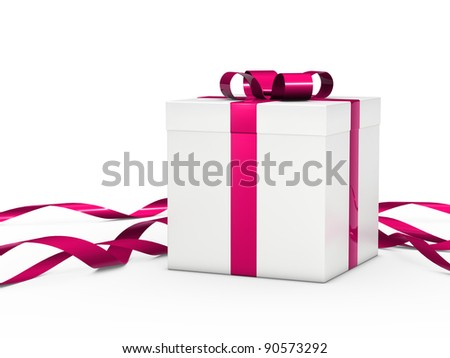 Christmas gift box white with pink ribbon