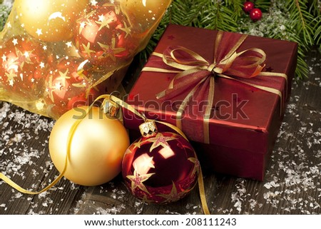 Christmas gift box with balls and decorations