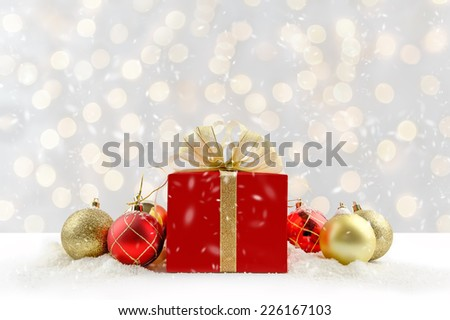 Christmas gift box with bokeh background