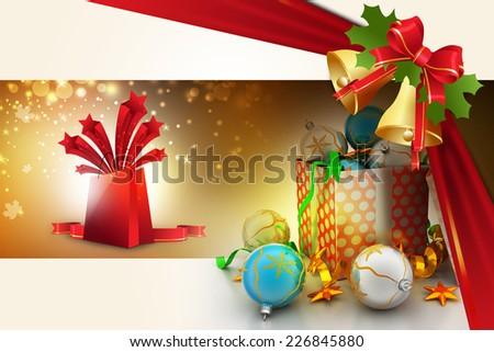 Christmas  gift box with bubbles
