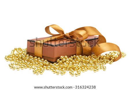 Christmas gift box with christmas ball  isolated on the white background - stock photo