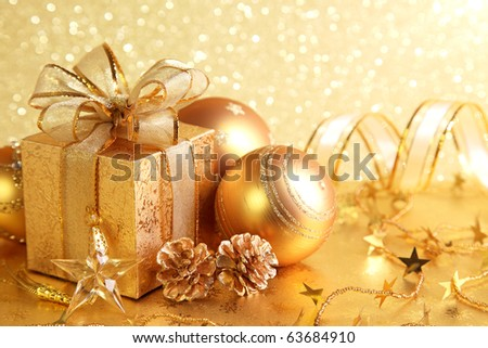 Christmas gift box with christmas balls - stock photo