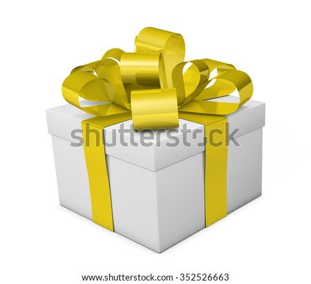 Christmas gift box with golden ribbon and bow 3d illustration isolated on white background.