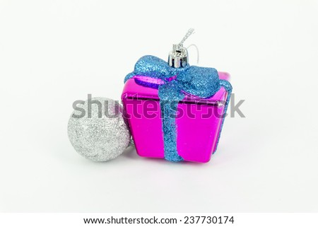Christmas gift boxes and shinny balls for decoration - stock photo