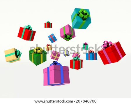 Christmas gift boxes. 3d render illustration. - stock photo