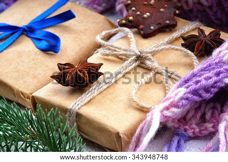 Christmas gift boxes, fir tree branch and winter scarf