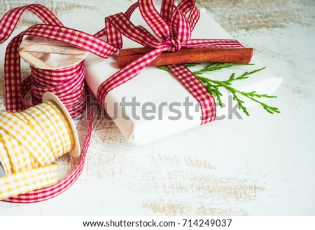 Christmas gift boxes on rustic background as a holiday concept with copyspace
