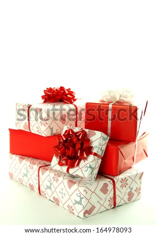 Christmas gift boxes on white background