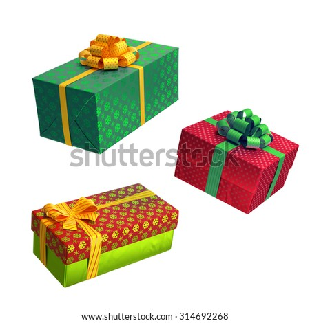 Shutterstockwacomkagift boxes christmas gift boxes over white background 3d illustration negle Images