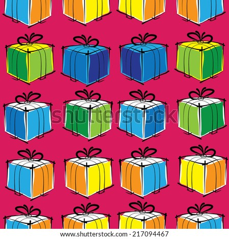 Christmas gift boxes seamless pattern
