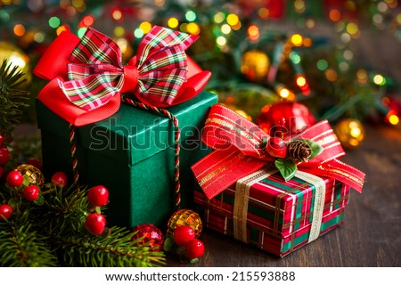 Christmas gift boxes with decorations - stock photo