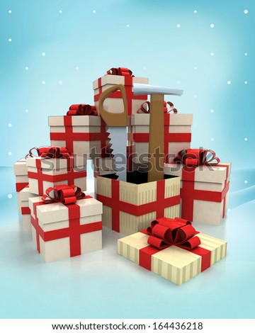 christmas gift boxes with new tools surprise at winter snowfall illustration