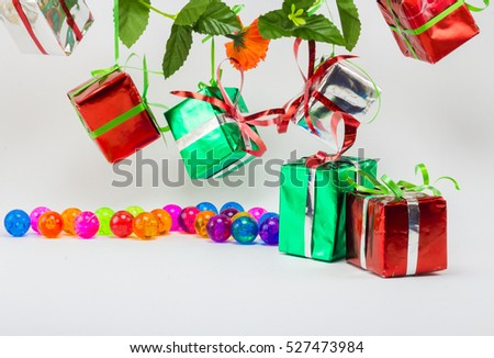 Christmas gift boxes with plastic ball on white background, New year gift set.