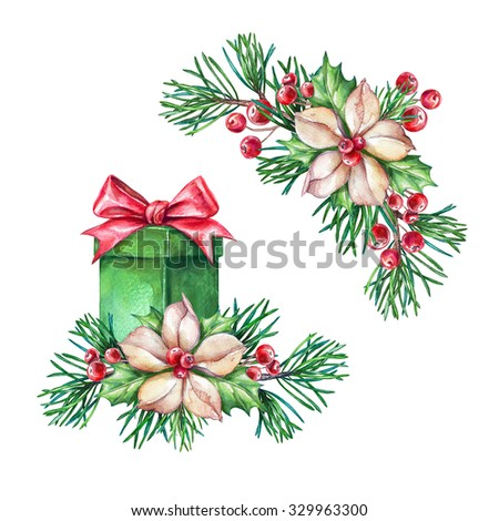Christmas gift, coniferous twigs, poinsettia flowers, design elements, watercolor clip art isolated on white background - stock photo