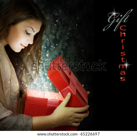 Christmas Gift.Holidays magic. - stock photo