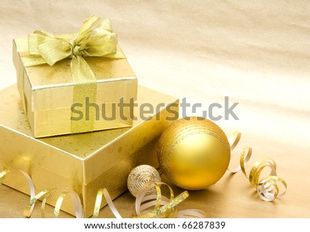 Christmas Gift on golden background