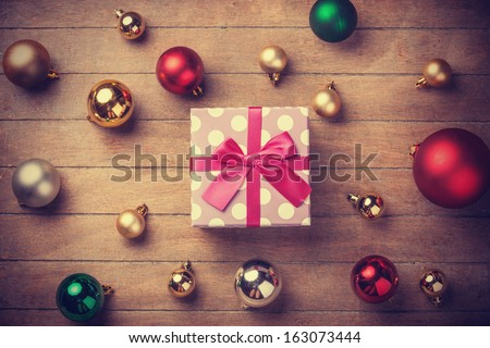 Christmas gift. Photo in vintage style. - stock photo