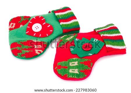 Christmas gift socks isolated on white background. - stock photo