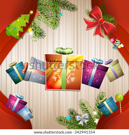 Christmas gift with bow, ball and pine tree - stock photo
