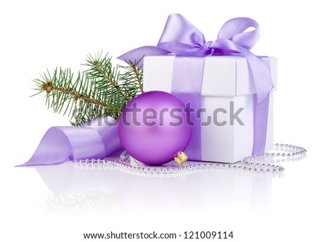 Christmas gift with Purple Ball, tree branch and ribbon bow isolated on white background