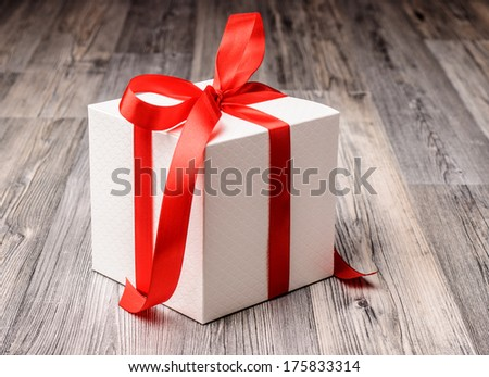 Christmas gift with red and white colors - stock photo