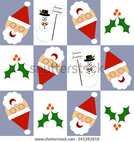 Christmas gift wrap, Santa snowmen and holly illustration - stock photo