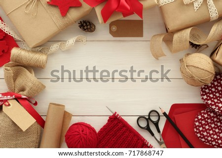Gift wrapping stock images royalty free images vectors christmas gift wrapping preparation for holiday concept wrapped gifts ribbons empty labels negle Images