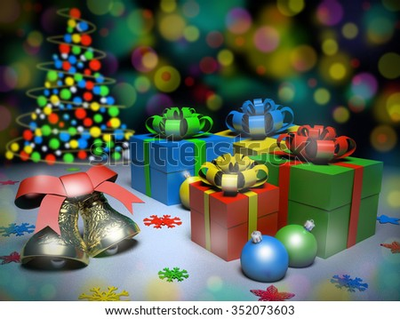 Christmas gifts and bells on the snow, 3d render.