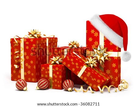 christmas gifts and santa hat  on white background - stock photo