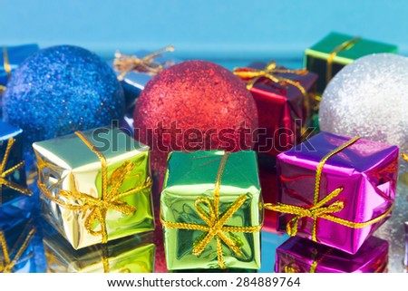 Christmas gifts and toys close up - stock photo
