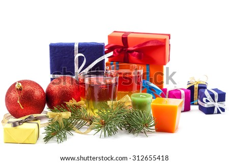 Christmas gifts balls and spruce branches isolated on white background. - stock photo